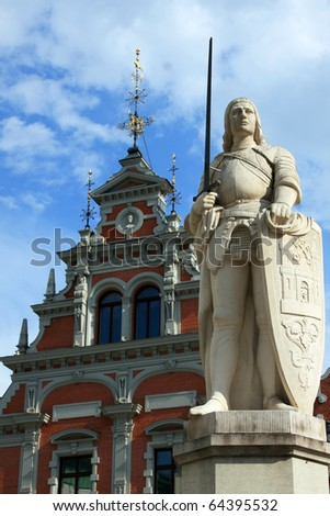 statue of roland in riga capital of latvia