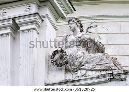 Statue of roman goddess Victoria or greek Nike in the museum and park complex Manor Tarnowski, s.Kachanovka, Ukraine - stock photo