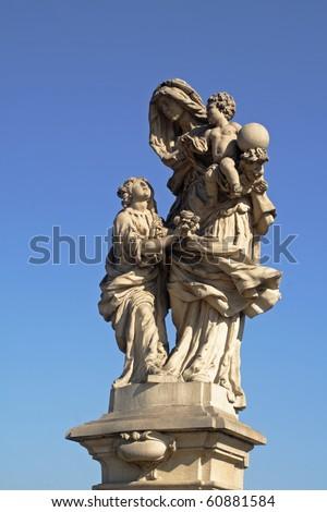 Statue of Saint Anna / Anne on famous Charles bridge Prague - stock photo