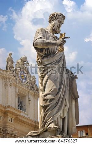 Statue of Saint Peter in Vatican.  Italy - stock photo