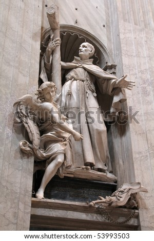 Statue of Saint Peter of Alcantara in Saint Peter's Basilica in Vatican (Rome, Italy). Created by Spanish sculptor, Francisco Vergara.