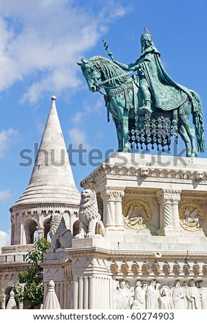 Statue of Saint Stephen I in Front of Fisherman's Bastion at Buda Castle in Budapest, Hungary - stock photo