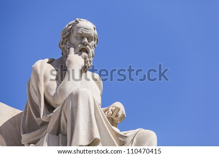 statue of Socrates, Academy of Athens,Greece - stock photo