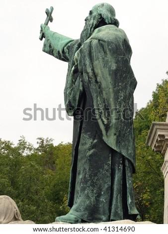 Statue of St Gellert on Gellert hill in Budapest in Hungary - stock photo