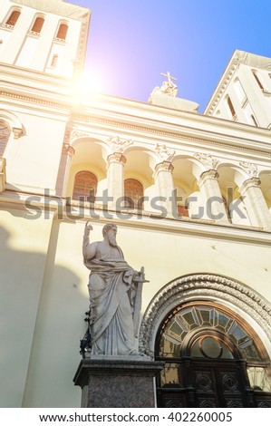 Statue of St. Paul at the entrance of the Lutheran Church of Saints Peter and Paul Church (1838) in St. Petersburg, Russia - stock photo