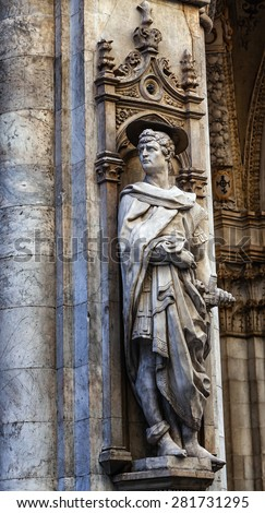 Statue of St. Victor from the Renaissance period in the street of Siena, Italy.  - stock photo