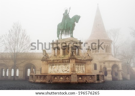 Statue of Stephen I at the Fisherman's Bastion in Budapest, Hungary. - stock photo