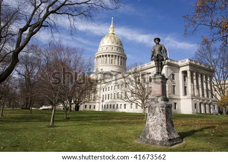 Statue of Stonewall Jackson sits on the grounds of the state capital in Charleston West Virginia - stock photo
