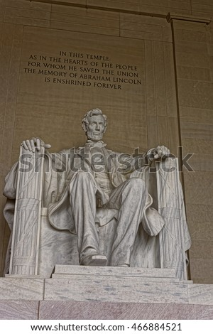 Statue of the American president Abraham Lincoln is situated in his memorial in Washington D.C., USA. The figure was supposed to be 10 feet 3 m tall, but appeared to be 19 feet 5.8 m tall.