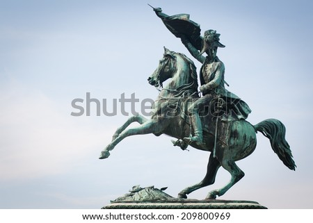 Statue of the Archduke Charles of Austria, Duke of Teschen on the Heldenplatz, Vienna, Austria - stock photo