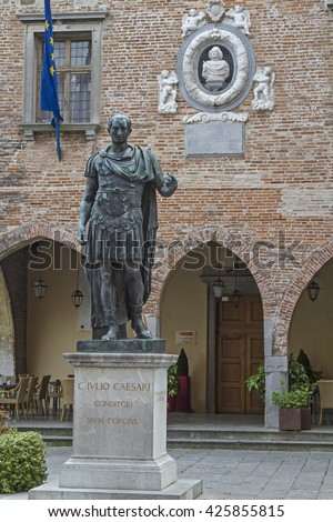 Statue of the city founder Julius Caesar before the City Council in Cividale del Friuli - stock photo