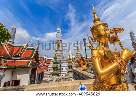 Statue of the deity in the temple of the Emerald Buddha ,