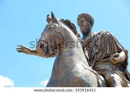 Statue of the emperor Marco Aurelio at the Capitoline Hill in Rome, Italy - stock photo