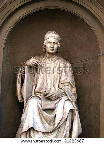 Statue of the famous architect Arnolfo di Cambio- Florence. Arnolfo di Cambio 1240 â?? 1300 was an Italian architect and sculptor.