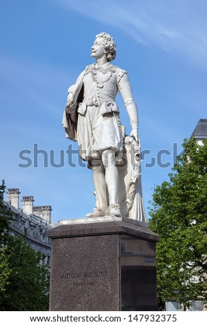Statue of the famous Flemish painter Anthony van Dyck in Antwerp, Belgium