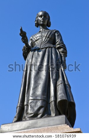 Statue of the famous nurse Florence Nightingale in London. - stock photo