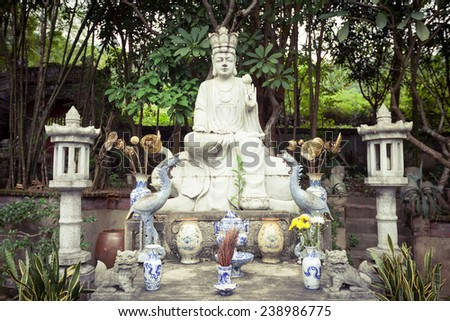 Statue of the Goddess in Thanh Chuong Viet Palace - stock photo
