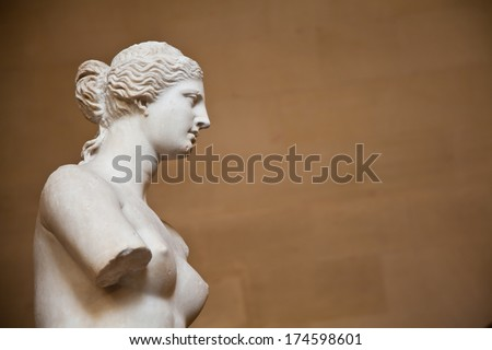 "Statue of the Greek goddess Aphrodite, discovered on the island of Melos (""Milo"", in modern Greek), Louvre Museum, Paris - stock photo"