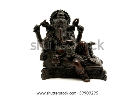 Statue of the hinduist god Ganesha on a white background - stock photo