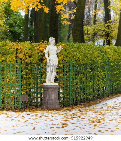 Statue of the Libyan Sibyl in Summer Garden after the first snowfall, St. Petersburg, Russia