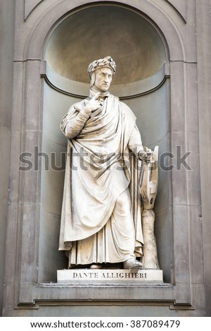 Statue of the poet and writer Dante Alighieri outside of the Uffizi Gallery in Florence, Italy. Major Italian figure in the late Middle Ages.  Father of the Italian language.  Wrote the Divine Comedy. - stock photo
