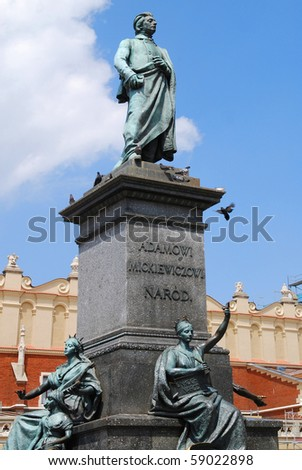 Statue of the Polish poet - Adam Mickiewicz in Cracow. Poland - stock photo