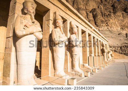 Statue of the Queen Hatshepsut's temple (Dayr el-Bahari or Dayr el-Bahri), part of the Theban Necropolis. - stock photo