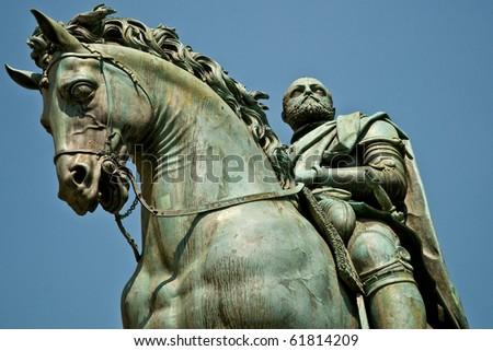 statue of the rider cosimo i de medici of gianbologna - stock photo