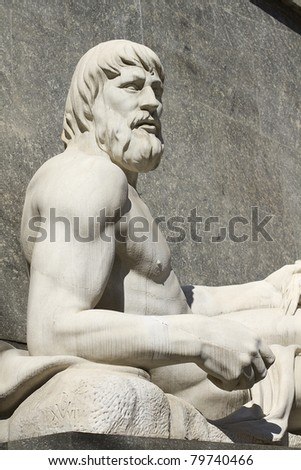 Statue of the River Po on the back of the church of San Carlo on Piazza CLN, already the square of Churches - stock photo