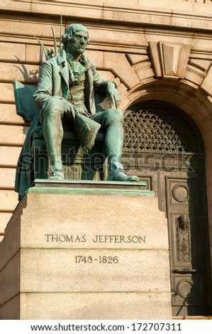 Statue of Thomas Jefferson in front of the Cuyahoga County Courthouse in Cleveland Ohio - stock photo