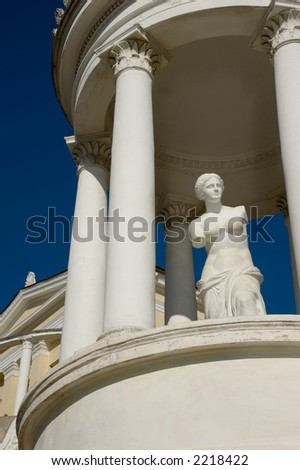 Statue of Venus in rotunda among buildings after the antique in Theodosia, Crimea