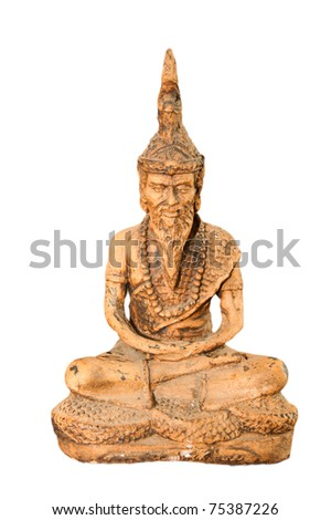 Statue of vintage hermit isolated on white.