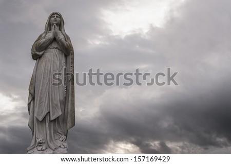 statue of Virgin Mary - stock photo