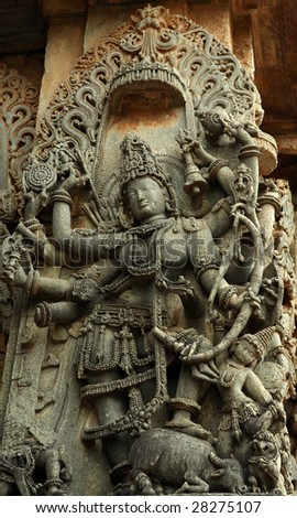 Statue of Vishnu in Halebid (India) - masterpiece of Hoysala art - stock photo