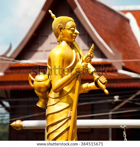 Statue of wandering monk in Thailand, Phuket
