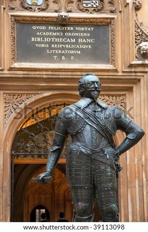 Statue of William Herbert, 3rd Earl of Pembroke. Bodleian Library, Oxford, UK - stock photo