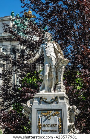Statue of Wolfgang Amadeus Mozart (Austrian sculptor Victor Tilgner, 1896) in public Burggarten park in the center of Vienna. Austria. - stock photo