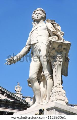 Statue of Wolfgang Amadeus Mozart, Burggarten in Vienna, Austria - stock photo