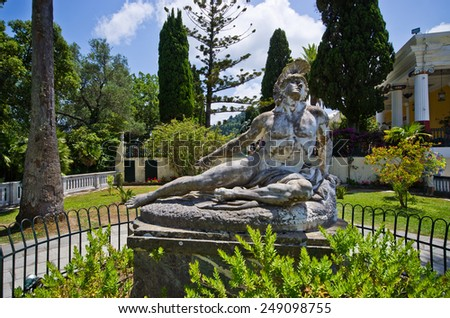 Statue of Wounded Achilles in the garden of Achillion palace on Corfu island, Greece - stock photo