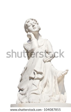 statue of young female isolated over white - stock photo