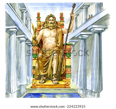 Statue of Zeus at Olympia - stock photo