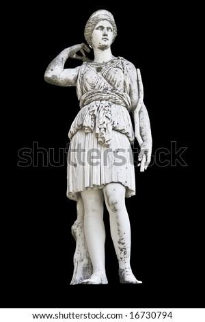 Statue on black background showing Goddess Athena - stock photo