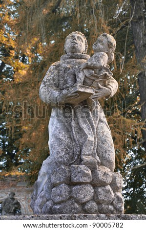 Statue on entrance to Cathedral at Pidhirtsi, Pidhirtsi Castle near Lviv - stock photo