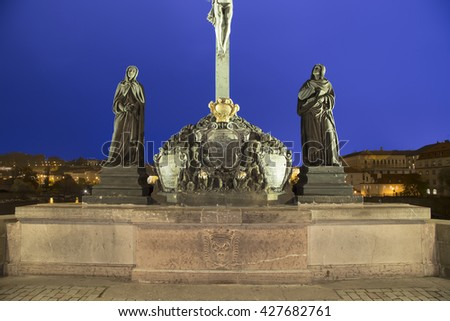 statue on the Charles Bridge in Prague, Czech Republic     - stock photo