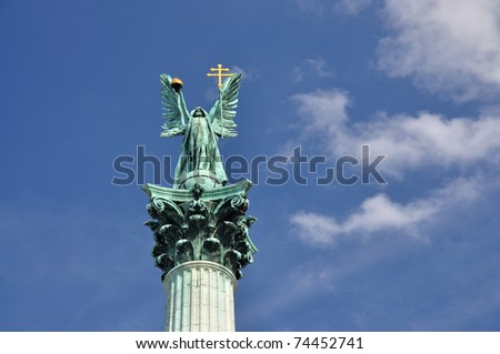Statue on top of Column on Heroes square in Budapest, Hungary