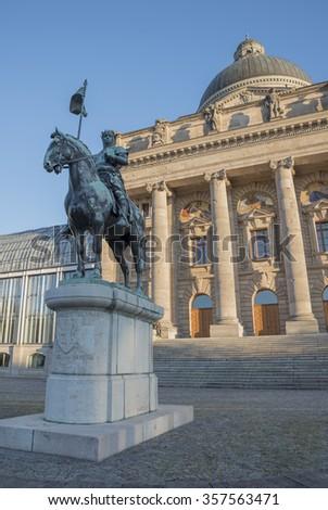 Statue Otto von Wittelsbach, in front of bavarian chancellery, in munich - stock photo