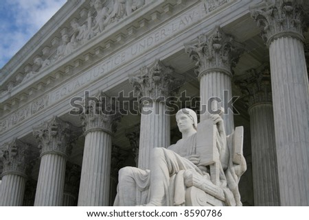 statue outside Supreme Court Washington DC - stock photo