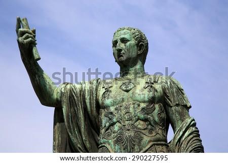Statue S.P.Q.R. IMP.CAESARI NERVAE Augustus on street Via dei Fori Imperiali, Rome, Italy - stock photo