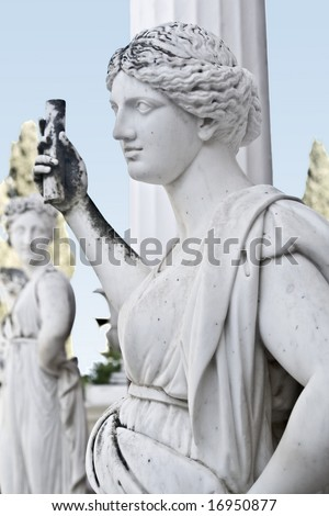 Statue showing an ancient Greek mythical muse. Achilleion palace at Corfu island in Greece - stock photo
