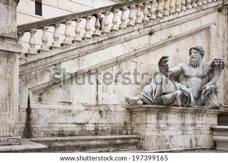 Statue, symbolizing the River Nile. Senators Palace, Rome, Italy - stock photo